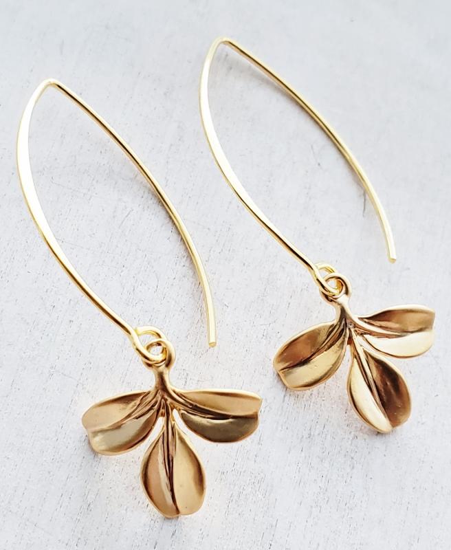Vermeil Marquis Petite Branch Earrings