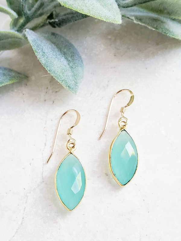 Gold Chalcedony Marquis Earrings