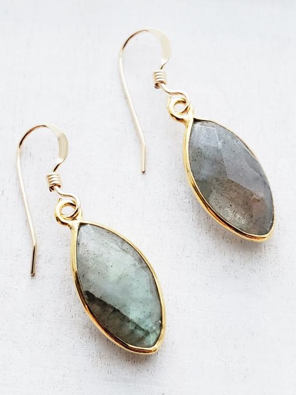 Gold Labradorite  Marquis Earrings