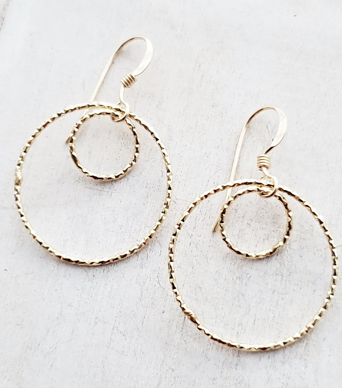 Gold Double Circle Diamond Cut Earrings