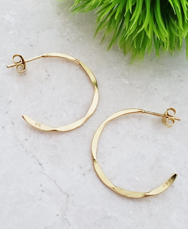 Gold Hammered Hoops Earrings