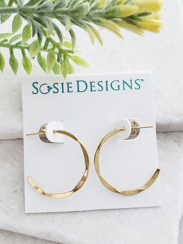 Gold Hammered Hoops Earrings