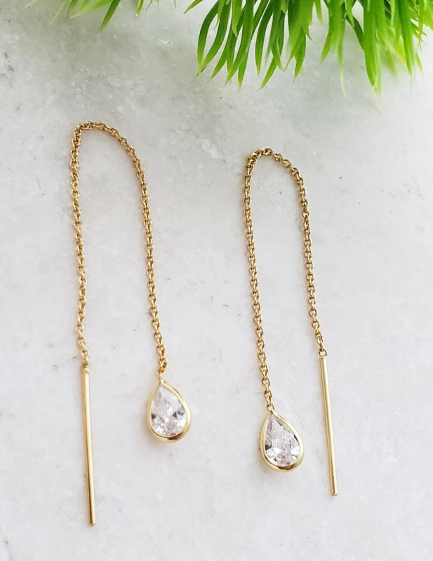 Gold Crystal Threader Earrings - Clear