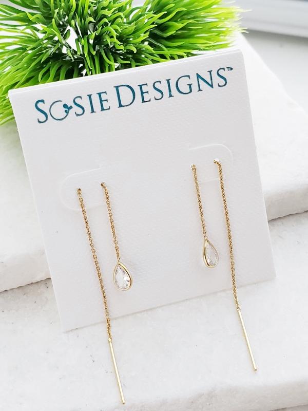 Gold Crystal Threader Earrings - Clear