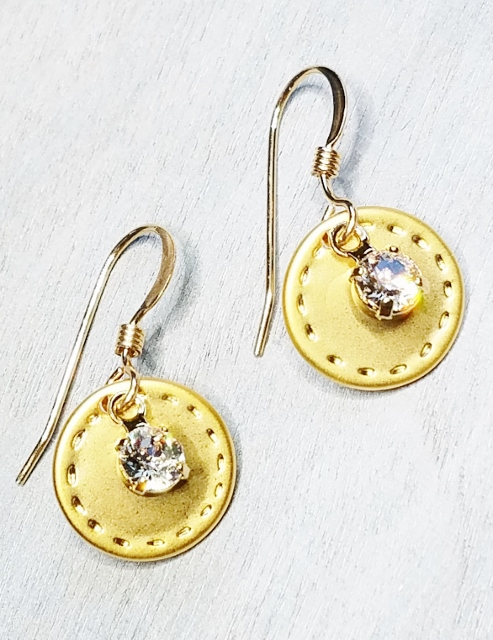 Gold Reflection Earrings - Clear