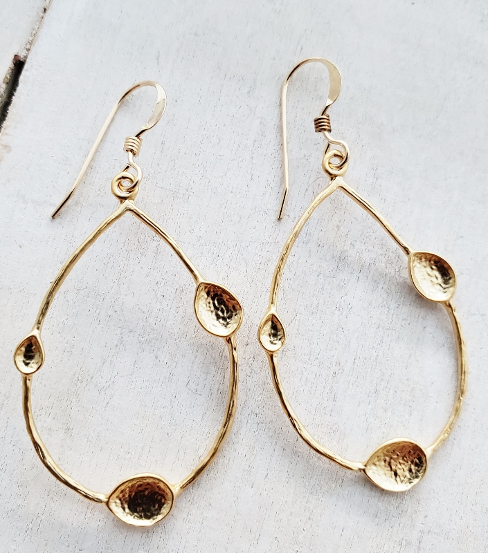 Gold Teardrop Pods Earrings