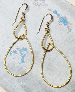 Gold Matte Double Teardrop Link Earrings