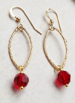 Gold-Filled Hammered Lotus Petals Earrings - Siam Red