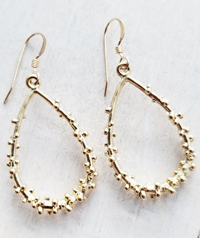 Gold Dotted Teardrop Earrings