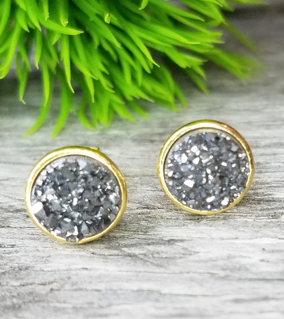 Gold Druzy Quartz Studs Earrings 9 mm - Black/Dark Grey