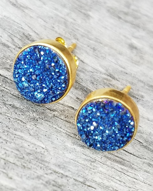 Gold Druzy Quartz Studs Earrings 9 mm - Blue