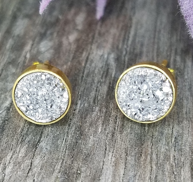 Gold Druzy Quartz Studs Earrings 9 mm - Silver