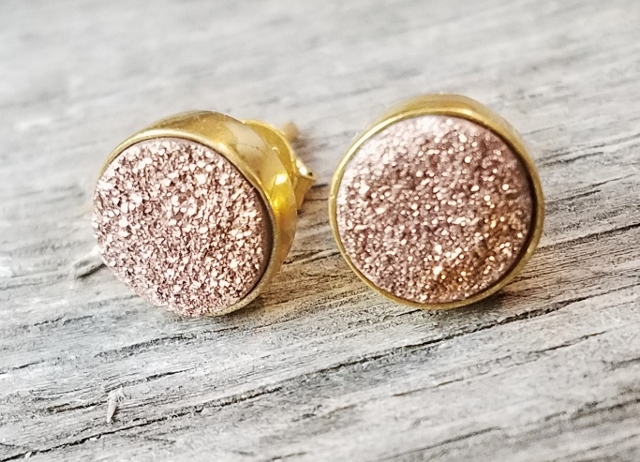Gold Druzy Quartz Studs Earrings 9 mm - Copper