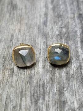 Vermeil Gold Cushion Labradorite Studs Earrings