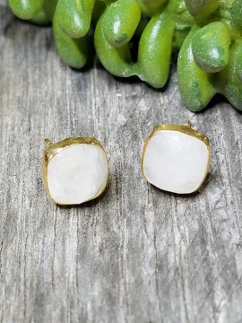 Vermeil Gold Cushion Rainbow Moonstone Studs Earrings