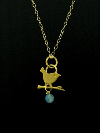 Gold Pacific Opal Crystal Little Birdie Necklace