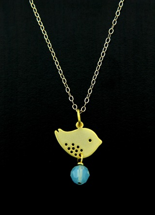Gold Spotted Bird Pacific Opal Necklace