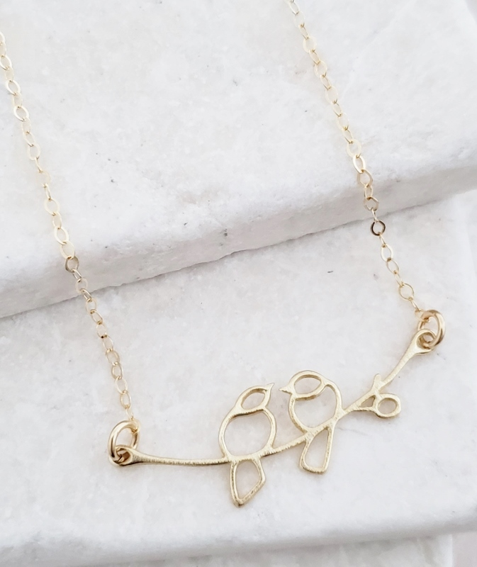 Gold Love Birds Necklace