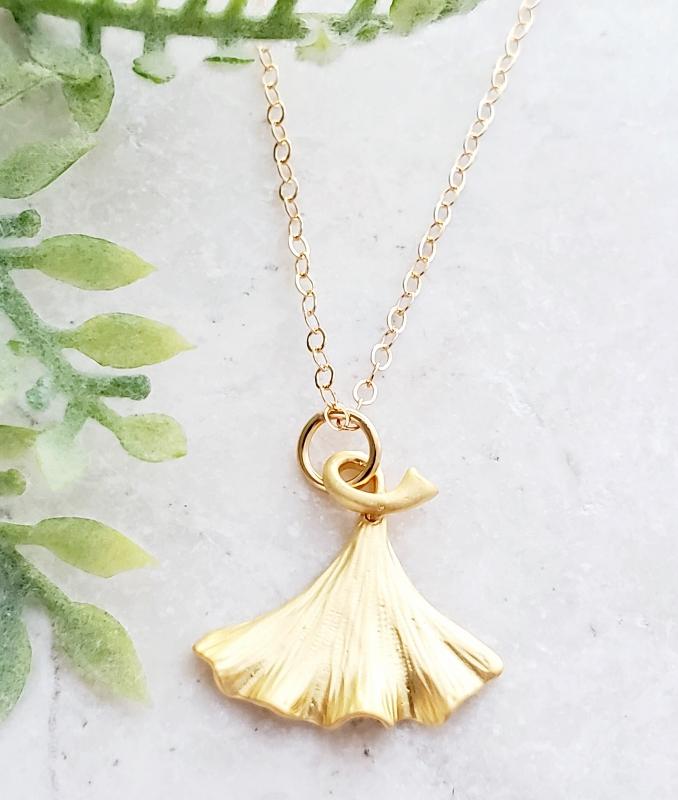 Golden Gingko Necklace