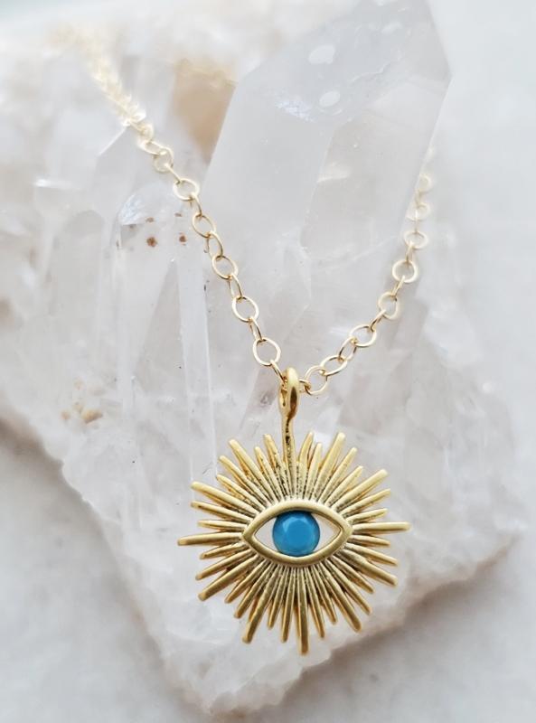 Gold Sunburst Evil Eye Necklace