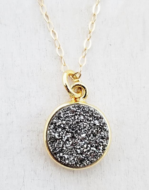 Gold Round Bezel Druzy Necklace - Grey