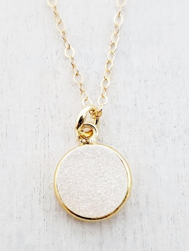 Gold Round Bezel Druzy Necklace - Rainbow White