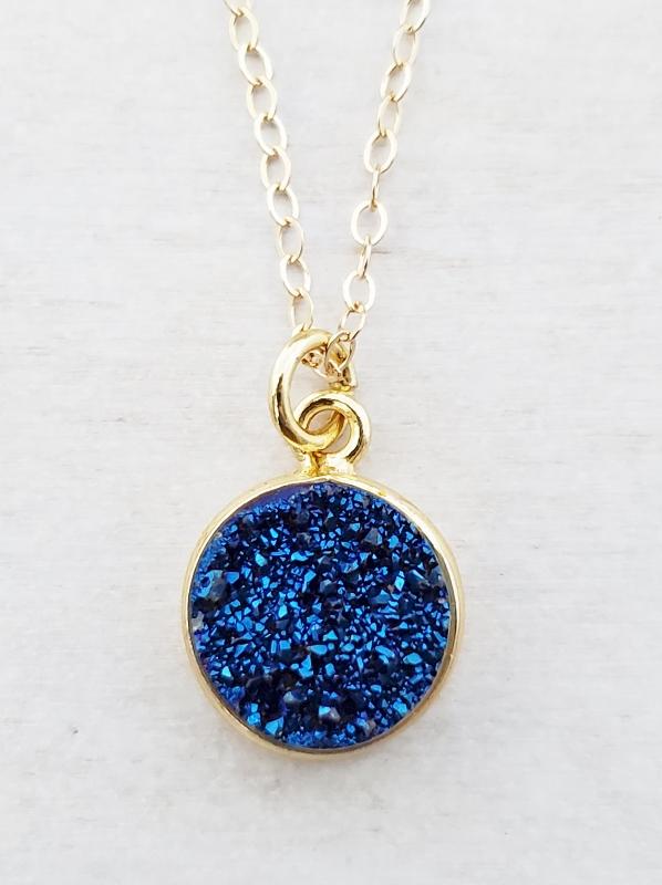 Gold Round Bezel Druzy Necklace - Blue