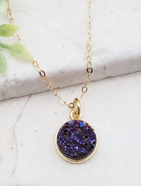 Gold Bezel Druzy Necklace - Purple