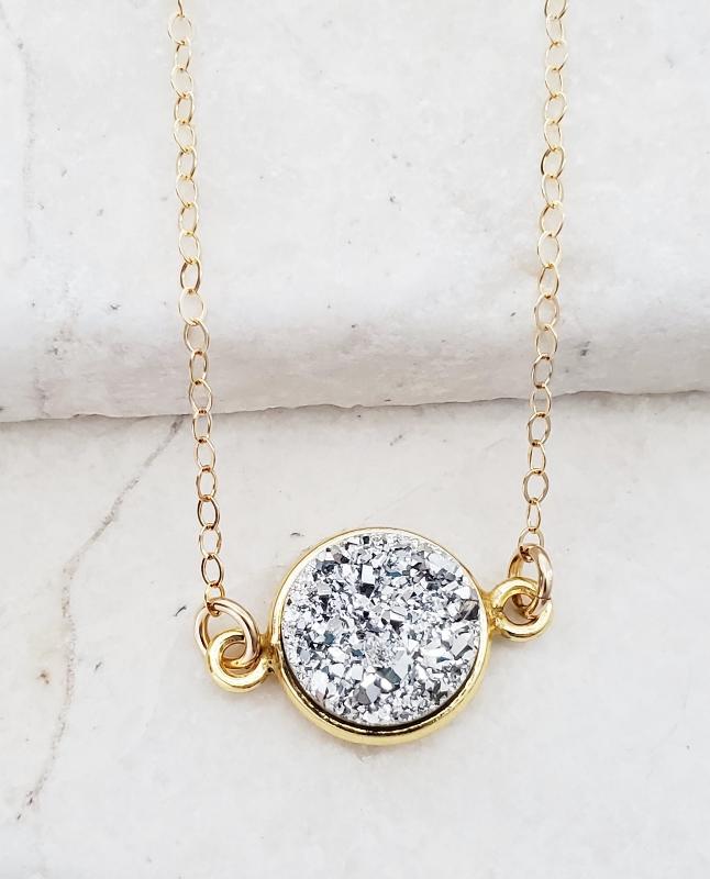 Gold Bezel Druzy Necklace - Silver
