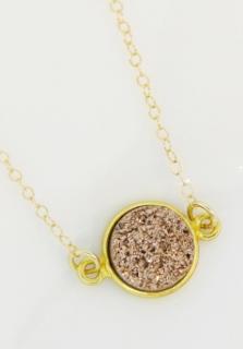 Gold Bezel Druzy Necklace - Copper