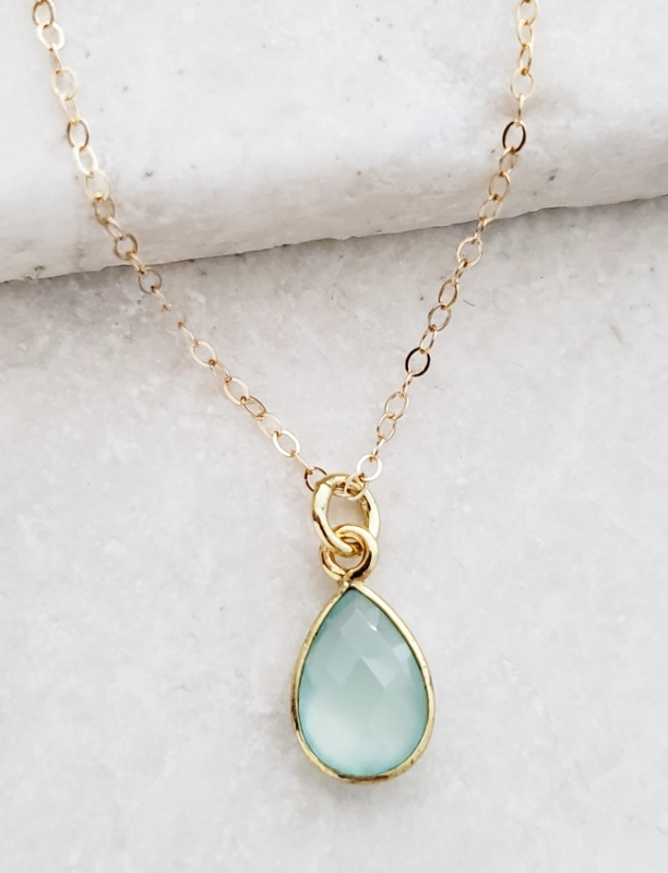 Gold Teardrop Aqua Chalcedony Necklace