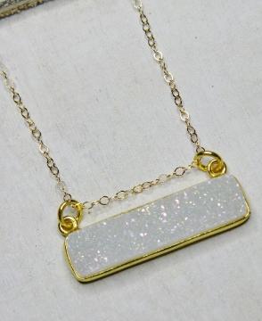 Gold Druzy Bar Sideway Necklace - Rainbow White