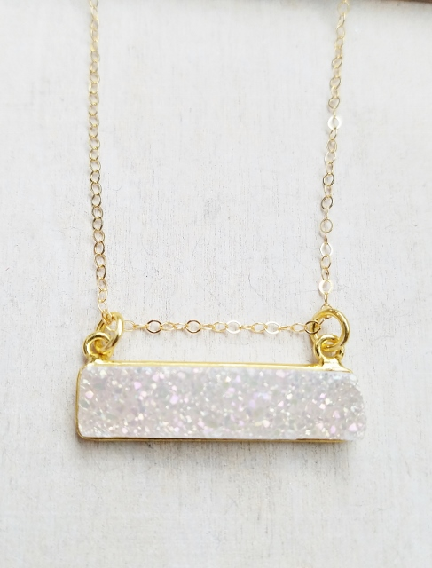 Gold Druzy Bar Sideway Necklace - Rainbow White