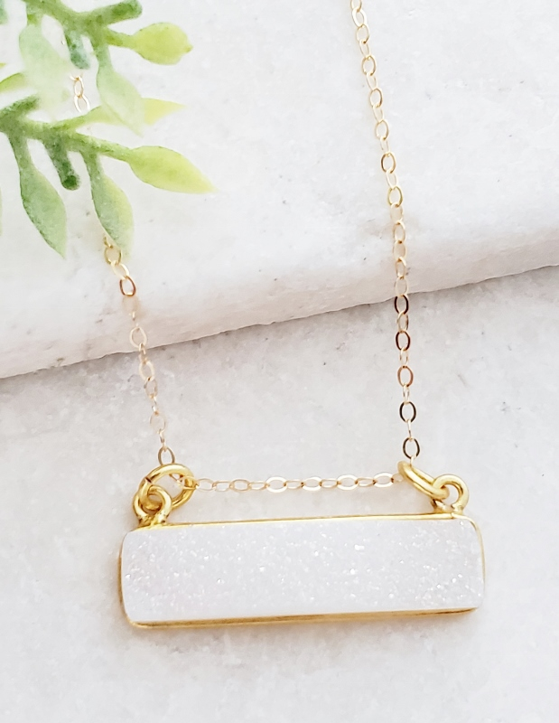 Gold Druzy Bar Sideways Necklace - Rainbow White