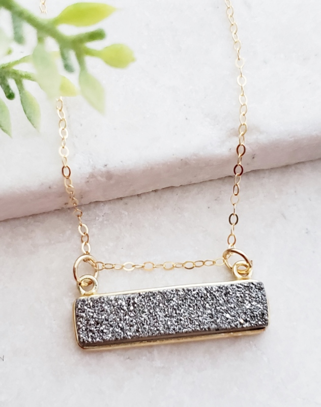 Gold Druzy Bar Sideways - Grey