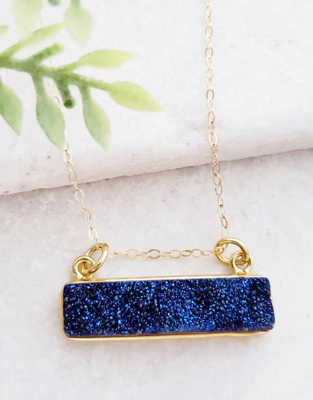 Gold Druzy Bar Sideways - Blue