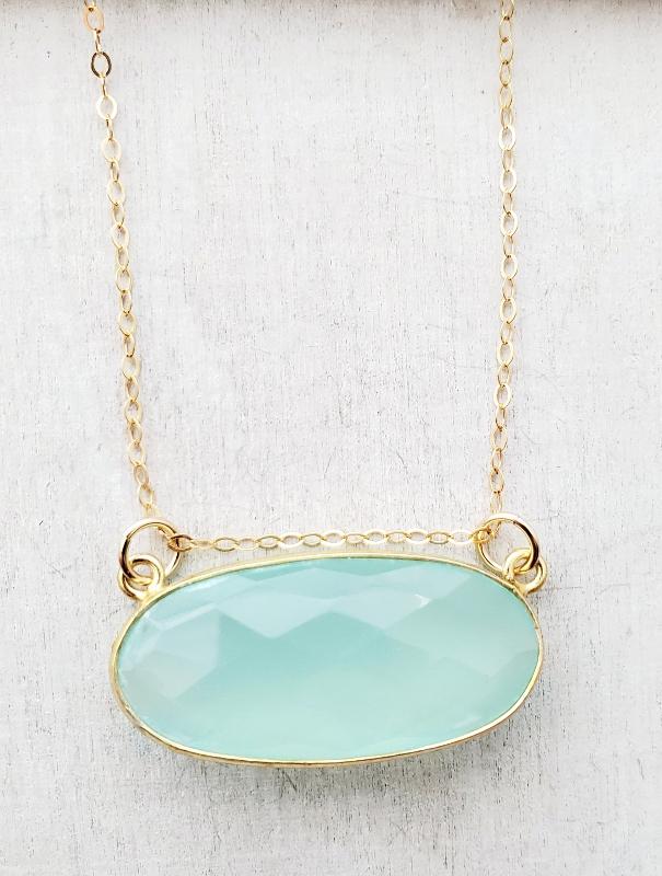 Floating Aqua Chalcedony Gold Necklace