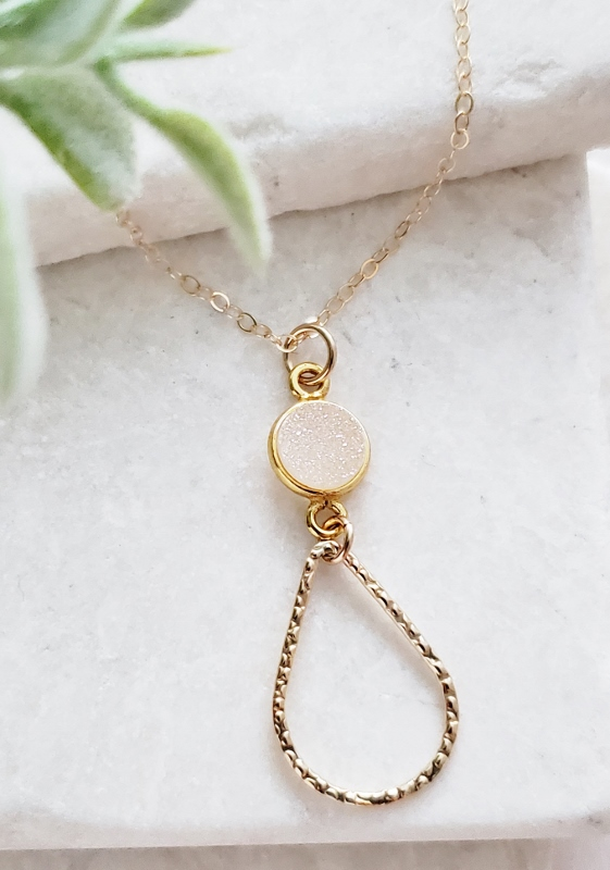 Chandelier Gold-Filled Druzy Necklace - Rainbow White