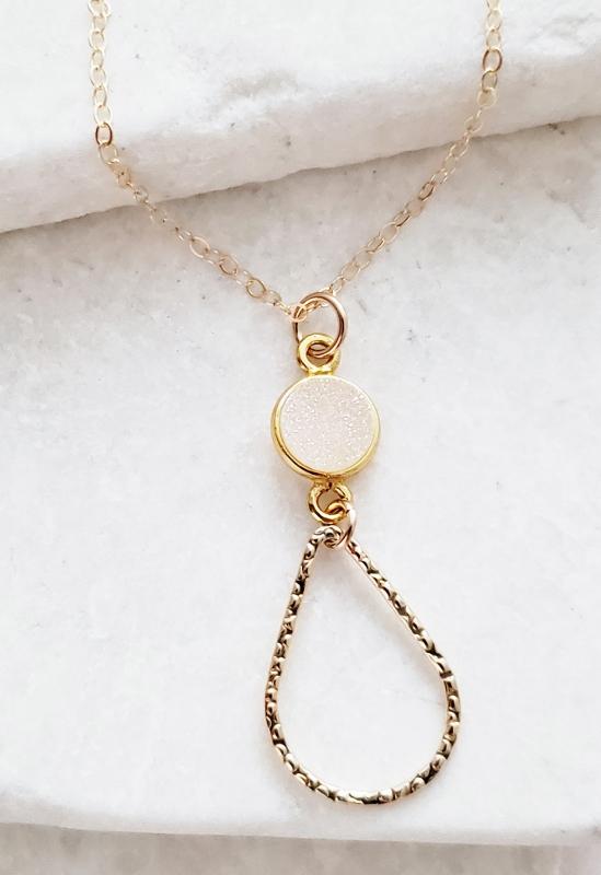 Chandelier Gold-Filled Druzy Necklace - Rainbow White