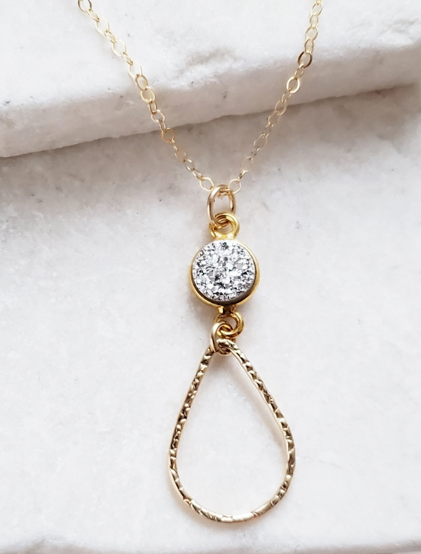 Chandelier Gold-Filled Druzy Necklace - Silver