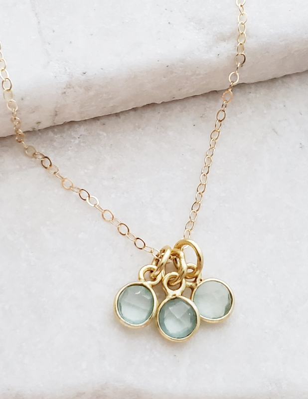 Gold Gemstone Cluster Trio Necklace - Aqua Chalcedony
