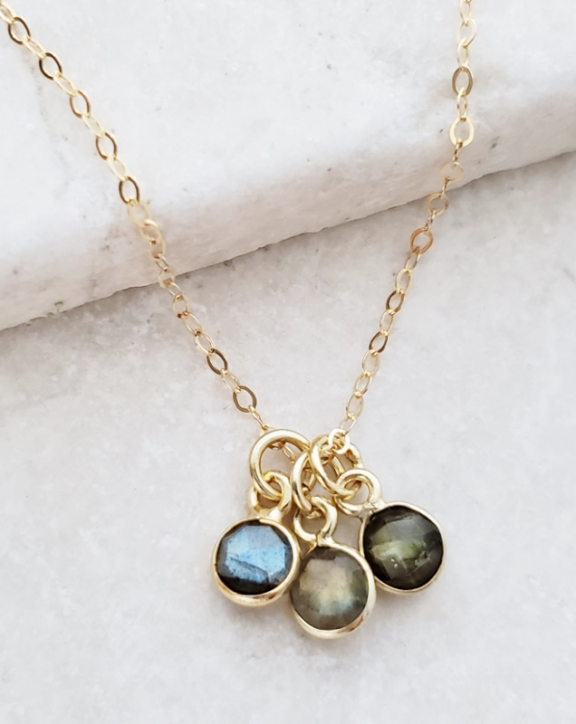 Gold Gemstone Cluster Trio Necklace - Labradorite