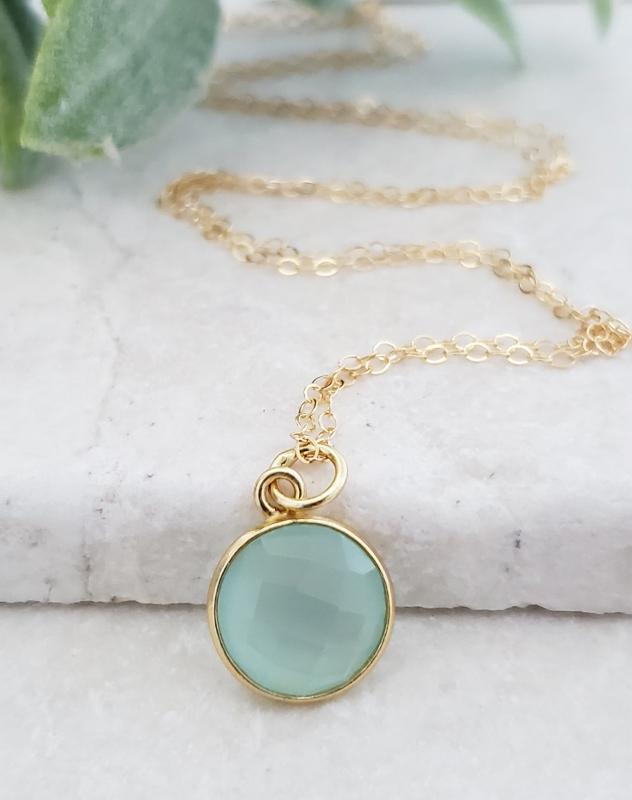 Gold Round Aqua Chalcedony Necklace