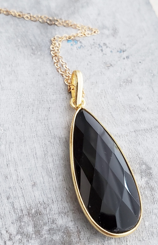 "30"" Gold Teardrop Black Onyx Necklace"