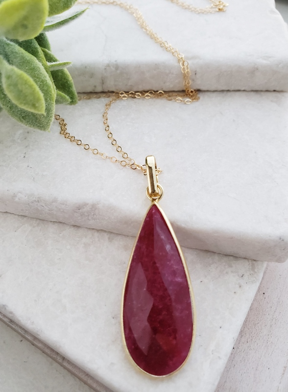 "30"" Gold Teardrop Ruby Necklace"