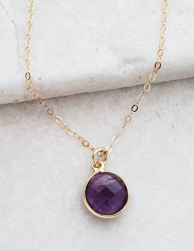 Gold Round Amethyst Necklace