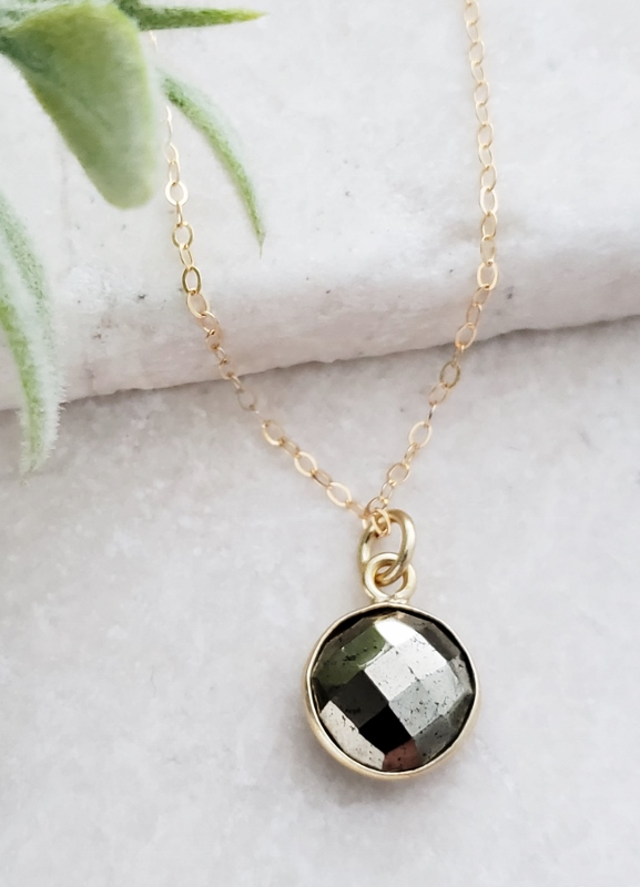Gold Round Pyrite Necklace