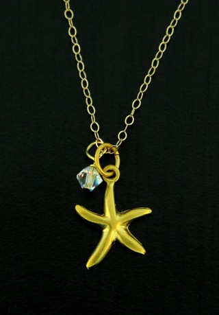 Gold Starfish Crystal Necklace