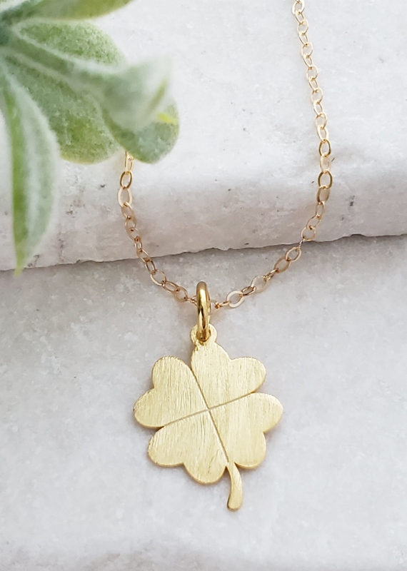 Gold Brushed Clover Necklace