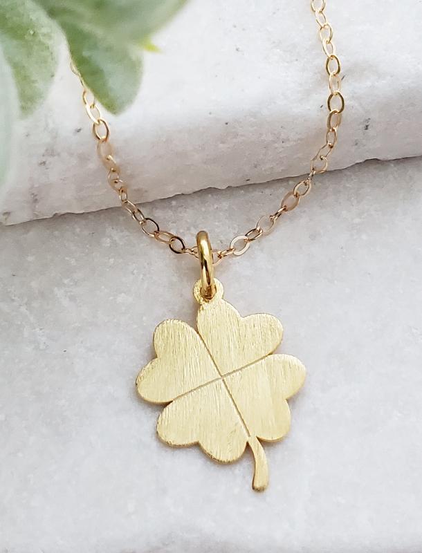 Gold Brushed Clover Necklace